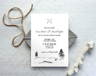 Camping Wedding Invitation Template - Printable Wedding Invitation - Wedding Invite Template - INSTANT DOWNLOAD - Camp Lake
