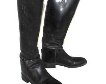 Vintage Womens Cowboy Boots Black Leather Riding Equestrian Motorcycle Boot Company EffinghamRiding Boots Size 6 Made in USA
