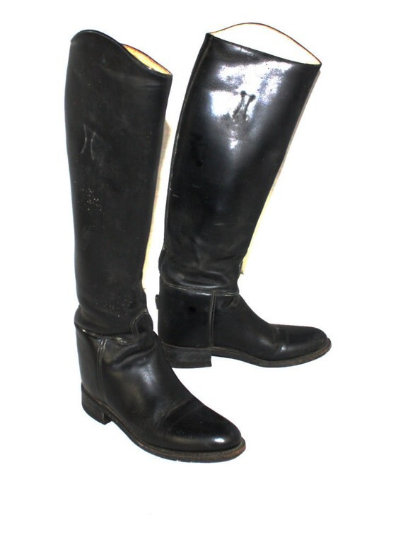 vintage womens cowboy boots black leather equestrian