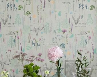 Seemleas Vinatge Pattern Wallpaper/Removable Wallpaper/Vintage Wall Decal/Deer Wall Sticker/Vintage Self Adhesive Wallpaper/ 191