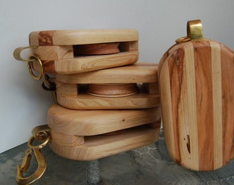Pulley Block - Cypress and Natural Distressed Cherry