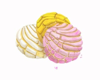Pan Dulce Conchas Fine Art Print // Art for Home // Art for Kitchen // Truth or Consequences // Mexican Sweet Bread