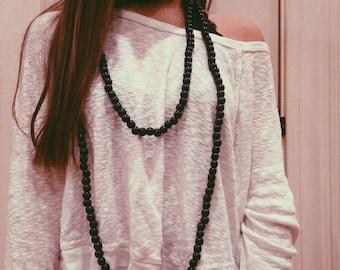 Black Triple Wrap Necklace