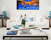 Ocean Painting, Large, Seascape Abstract Painting Art Acrylic navy blue Art ORIGINAL, sailing Boat painting sailing boat art, sunset , night