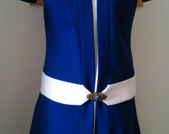 60s dress/space age/vintage 50s mod dress cream blue colour block drop waist mini shift