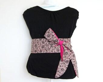 Obi belt fabric pink black flowers