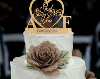 Rustic Wedding Cake Topper, God Gave Me You CakeTopper, unique wedding cake topper, initial cake topper, Monogram  Wedding Cake topper
