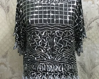 Vintage Sequin Black Silk Evening Blouse, Made in India, Size M
