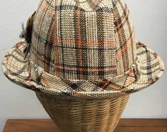 Vintage 1960s Mens Rust and Brown Tweed Fedora with Box, Size Medium