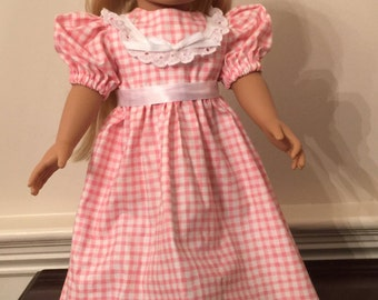 """Pink Gingham Long Dress for 18"""" Doll"""