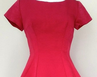 Gorgeous Vintage Circa 1950's Red Jean Allen of London Dress