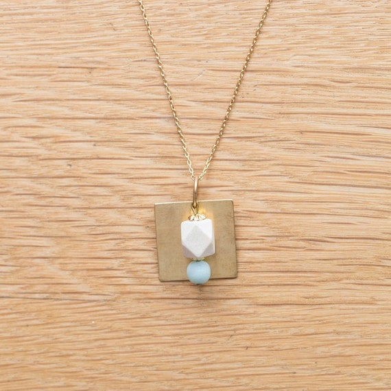 Essential Oil Diffuser Necklace with choice of Essential Oil Blend // Wood & Round Amazonite Pendant