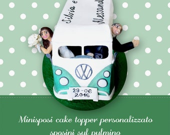 Custom cake topper Bride and groom Wedding topper couple in bus Unique wedding cake figurines Funny topcake Personalized anniversary gift