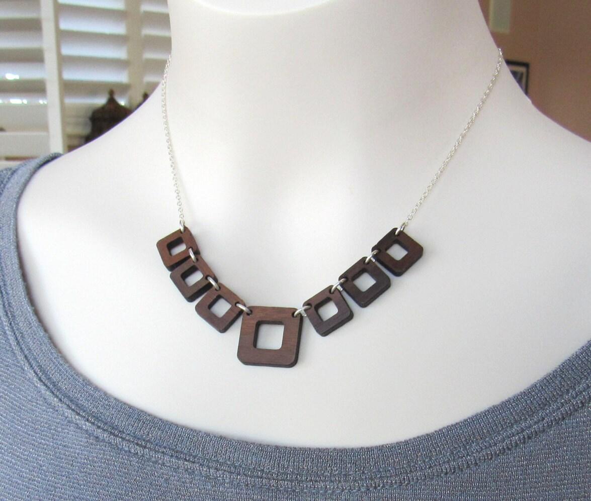 wood statement necklace edgy jewelry wood jewelry handmade