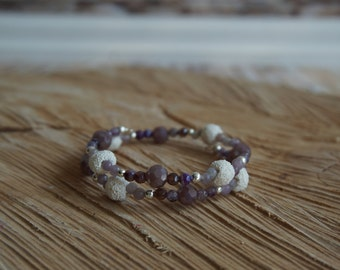 Essential Oil Diffusing Bracelet with Purple Agate and White Lava Beads
