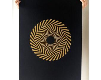 Large Hypnotic Circle Print, A2 Print, Geometric Print, Poster, Gold Print, Minimal, Screen Print, Screen Print, Gift Idea