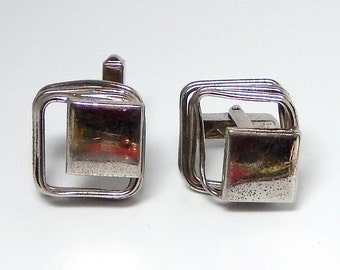 Mid Century Sterling Silver Cuff Links by Swank Vintage Men's French Cuff Shirt Square Cufflinks Fathers Day Gift