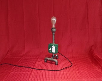 Pipe Table Lamp, Charging Station, Green Pipe Light, Edison Bulb, Industrial Light