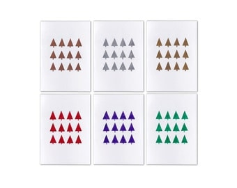 Set of 6 A6 Hand Drawn Cards - Trees - Christmas Cards - Australian Made