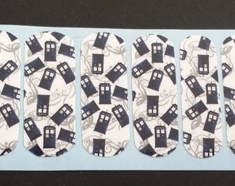 Doctor Who Tardis Nail Wraps NEW boutique nail art wraps adult manicure pedicure Comic Con Like Jamberry Geek Chic Police Call Box Dr who