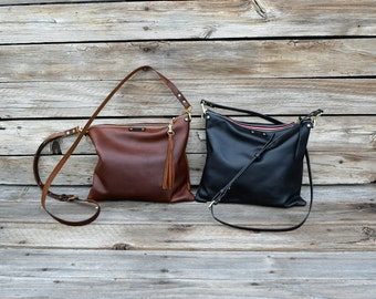 Cross Body Leather Bag / Fold Over Leather Bag / Small Convertible Leather Purse / Handmade Bag / Feral Empire / Zipper Clutch