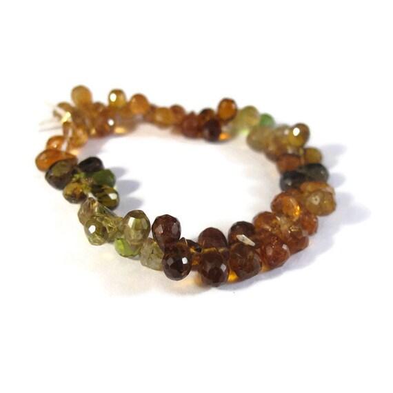 Petrol Tourmaline Beads, 4 Inch Strand of Little Multi Color Briolette Teardrops, 5mm x 3.5mm Natural Gemstones (B-Tou1b)
