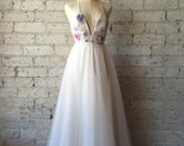 Whimsical watercolor floral printed raw silk tulle gown by Cleo and Clementine