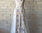 Strapless Whimsical Watercolor Floral Raw Silk  Gown by Cleo and Clementine