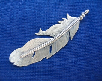 Silver eagle feather pendant ( Dropped Feather)