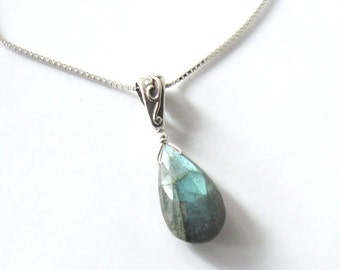 Labradorite Faceted Pear Gemstone Pendant Necklace Sterling Silver, Iridescent Blue Green Flash