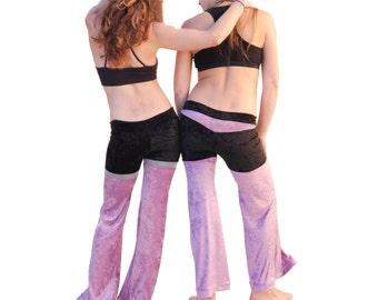 Lavender Velvet Dance Pants - Purple and Black Velvet Bellbottoms, Sexy Festival Pants