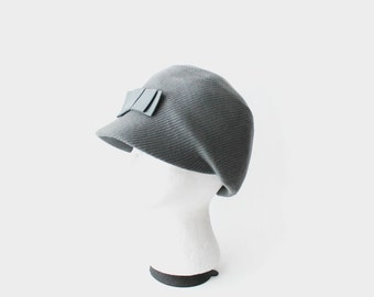 Vintage Ribbed Gray Winter Cap