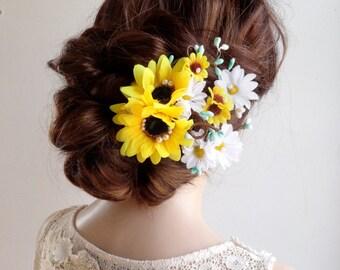 sunflower hair clip, sunflower hair comb, daisy hair clip, sunflower wedding, mint flower, bridal headpiece, floral hair clip, yellow flower