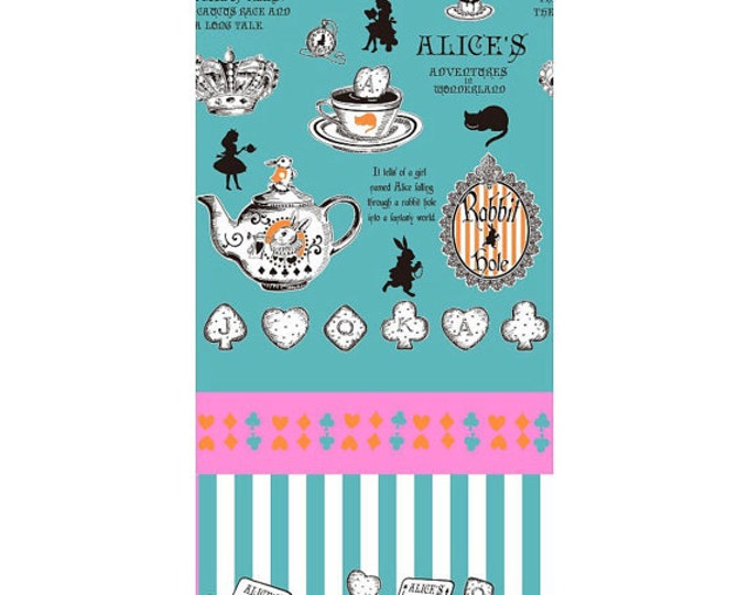 Alice in Wonderland - Judie's Cotton  by Lecien of Japan - Alice Panel Tea L37-70 blue, 1 yard