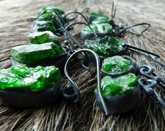SEMI-ANNUAL SALE Raw emerald earrings | emerald crystal earrings | Rough emerald earrings | Birthstone earrings | Emerald in silver earrings