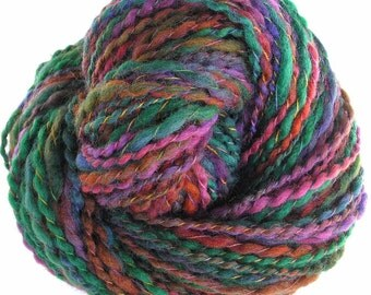 Handspun Yarn Hand Dyed Yarn Super Bulky Wool Yarn 163 yards DIY Chunky Jewel Colors Scarf Yarn OOAK - Autumn Color