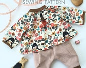 Doll clothing sewing pattern, DIY doll clothes, tutorial for sewing doll clothing, sewing for dolls, Ermentrude Pattern by Fig and Me.