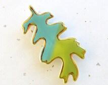 Oak Leaf Brooch. Turquoise Blue & Lime Green. 22K Gold Edge. Clay. Ceramic. Aqua. Blue-Green. Yellow-Green. Olive. Fall Jewelry. Woodland