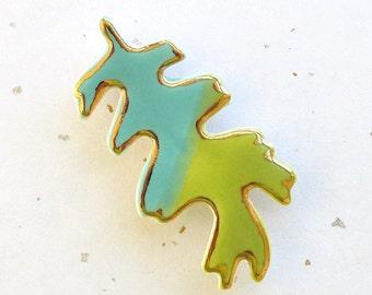 Oak Leaf Brooch. Greenery Green. Turquoise Blue. 22K Gold Edge. Clay. Ceramic. Aqua. Blue-Green. Yellow-Green. Olive. Fall Jewelry. Woodland