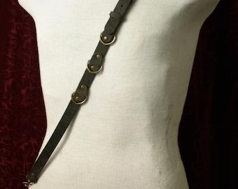 Steampunk Single Shoulder Suspender charcoal gray Leather, Antique Brass Braces, Mens shoulder strap, pirate, diesel punk, fetish, BDSM