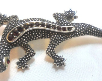 Marcasite and Garnets, Alligator Pin Brooch marked EMMONS