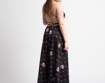 1970's Printed Backless Apron Maxi Dress