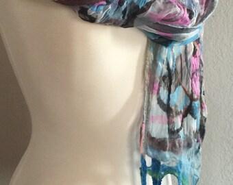 FIBERSPACEART nuno felted OOAK scarf/shawl, chiffon silk and Merino top