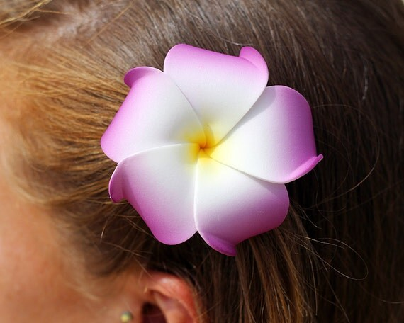Flower Hair Clip Purple Plumeria Hawaiian Flowers Beach