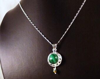 Necklace, 18in, Malachite, Sterling Silver, Swarovski  4282