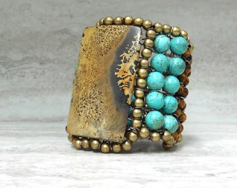 Huge Turquoise Bracelet- Native American Inspired Tribal Cuff by Sharona Nissan 3690B
