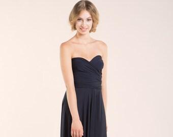 Bridesmaid Dresses, Navy blue Dress Knee length, Short Navy Bridesmaids Dress, Navy Weddings Evening Dresses, Sleeveless Blue short Dress
