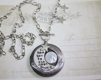 I Love You To The Moon And Back Locket Necklace Silver Locket Jewelry Photo Locket, Locket Necklace charm, Valentine gift