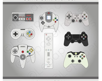 Game controllers clipart, digital scrapbook elements - 8 Clip art, Instant Download