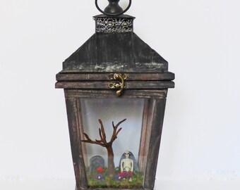 Gothic Art Diorama - Miniature Cemetery in Lantern - Dark Art with Skeleton - Halloween Decor